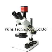 Simul focal 3.5X 90X trinocular stereo microscope + 13MP HDMI VGA industrial camera + adjustable metal stand + 144 LED ring