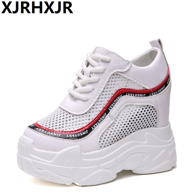 XJRHXJR 2018 Women's Fashion Casual Shoes Women's Shoes Increases Women's Shoes Network Air Wedge Airplane Shoes Black Platform