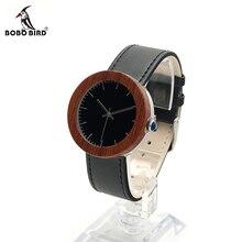 BOBO de AVES J01 Clásica De Madera De Bambú de Las Mujeres Reloj Negro Dial Pantalla analógica Reloj de pulsera con Banda de Cuero Blanco Con El Regalo caja