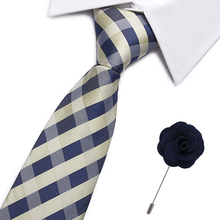 Vangise 7.5cm Jacquard Silk Mens Striped Tie Red Paisley Tie&brooch Set Classic Brown/black/blue Neck Ties For Wedding party
