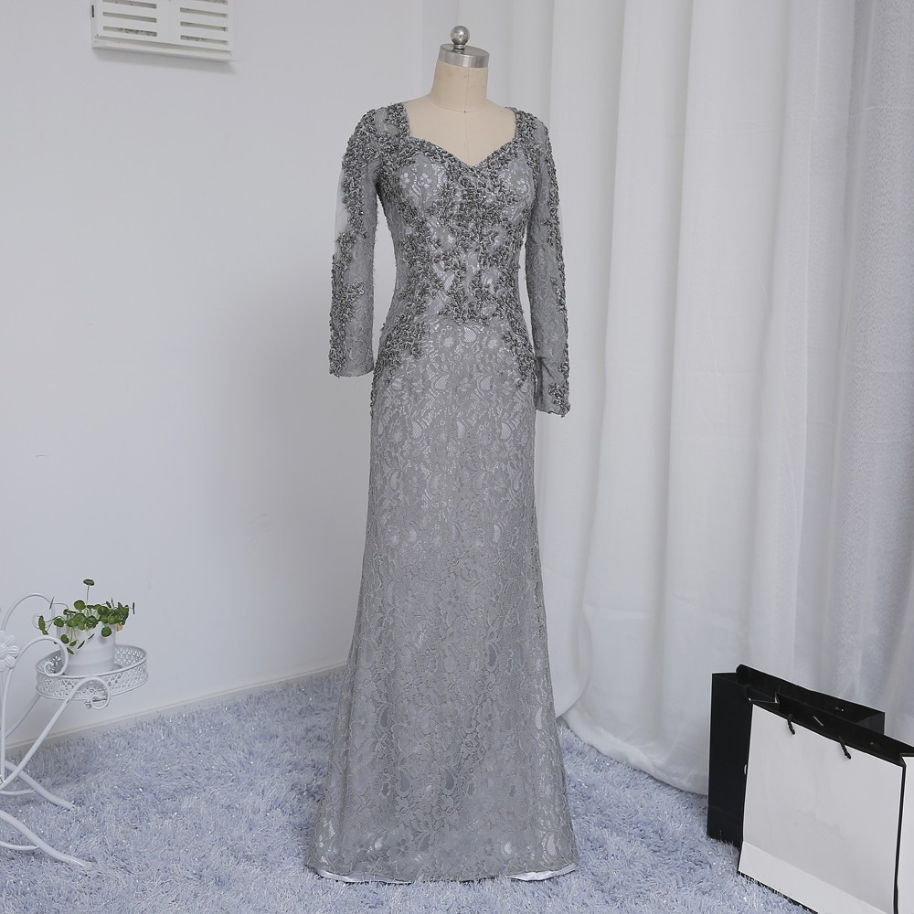 Plius dydis Pilka 2019 Mergelės suknelė Mermaid V-kaklo ilgomis - Suknelės vestuvėms - Nuotrauka 3
