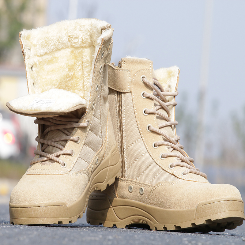 Winter Men Shoes Cashmere Military Tactical Boots Warm Snow Boots Army Combat Shoes Training Hiking Boots Sports Hunting Boots