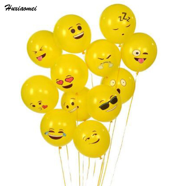 Huxiaomei 50pcs Latex Smiley Face Emoji Balloon Happy Birthday Decoration Inflatable Balls Wedding Party Balloons Kids Toys