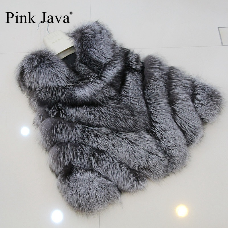 pink java QC9476 high-grade winer women  real  Sliver FOX fur vest genuine fox fur gilet  full pelt 2015 fashion coat hot sale
