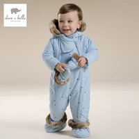 DB2707 Dave Bella Winter Newborn Baby Boys Blue Romper Baby Girls Pink Romper Padded With Hood