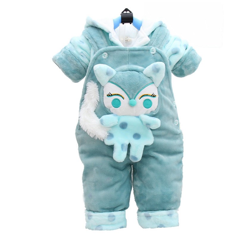 Baby Flannel Boys Clothes Jumpsuit Girls Thicken Warm Rompers Pajamas Plus velvet Coat + Overall Pants Kids Infant 2Pcs W138