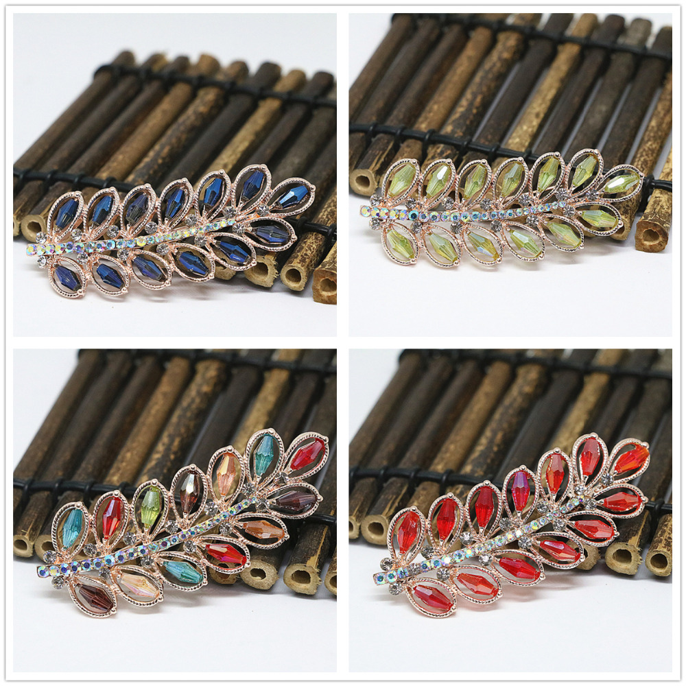 Beautiful rose gold plated charms crystal leaf brooches rhinestone colorful exquisite pins accessories jewelry B1439
