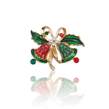 Fashion Christmas Brooch Pin Colorful Rhinestone Leaf Butterfly Combination Gold Bell Female Jewelry Gift