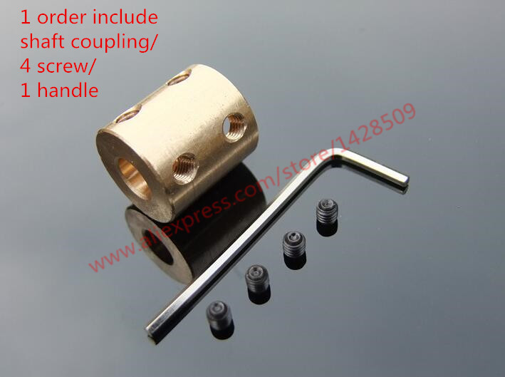 Fish Golden Brass Rigid Shaft Adapter Connector Coupling Coupler Motor Transmission Connector with Screws Wrench