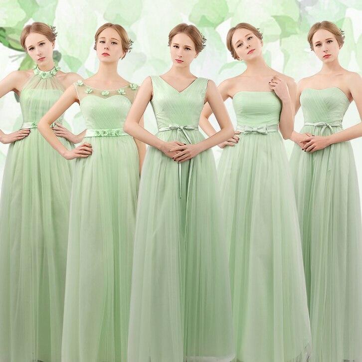 girls elegant bridesmaids high fashion elegant mint green dress 2017 ...