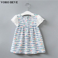 VORO BEVE Fashion Kids Clothes  Summer Baby Girl Dress Watermelon Pattern Stripes Style Sweet Girl Sundress