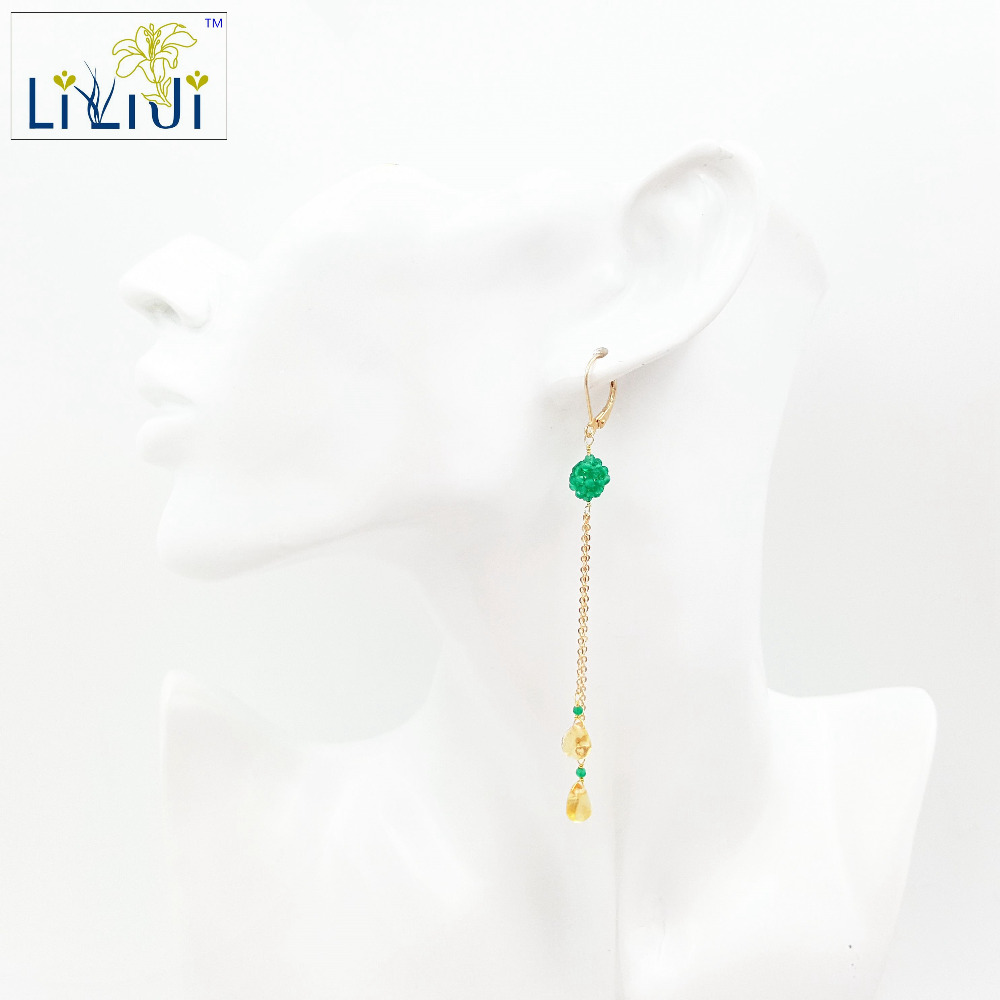 Lii Ji Natural Green Onyx,Citrine Tear Drop 925 sterling silver Chain Drop Dangle Earrings alloy bead chain circle drop earrings