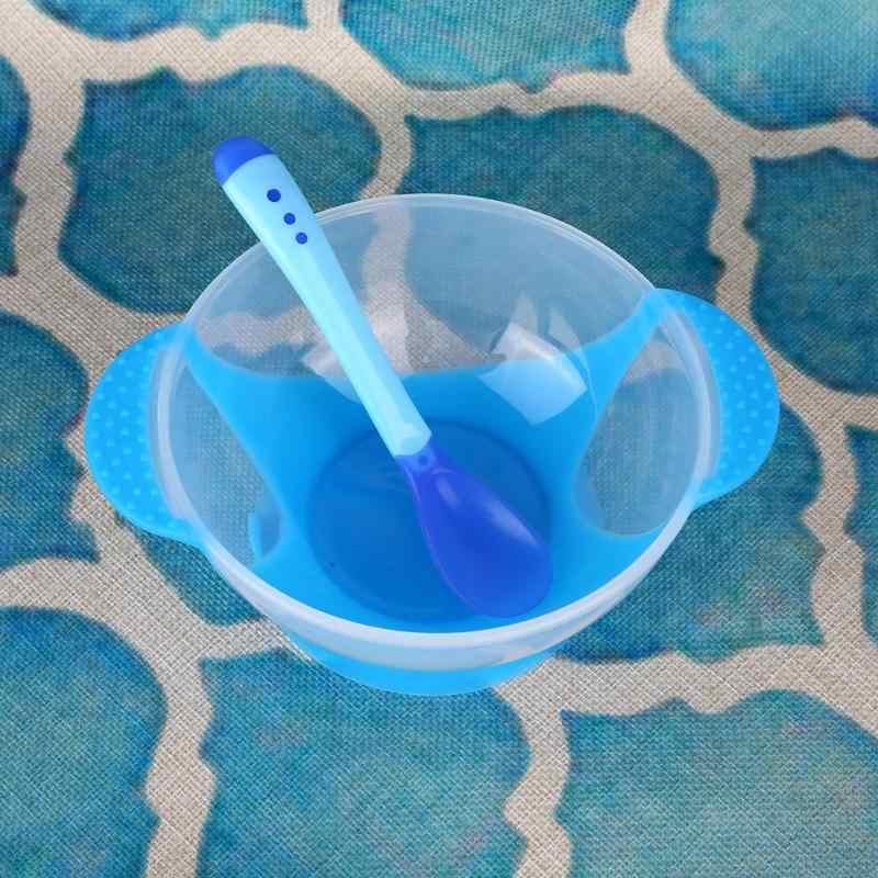ชามเด็กลื่นส้อมช้อนทารก Sensing อุณหภูมิ Sucker ชามส้อมช้อนทารกให้อาหารชุดเครื่องมือ