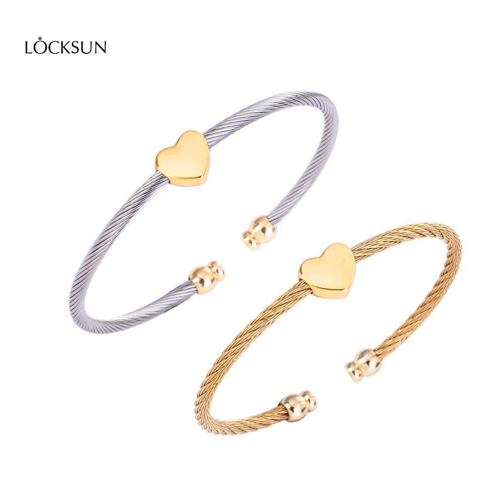 Fashion Women's Stainless Steel Bracelet and Bangle Gold and Silver Bracelet with heart-shaped