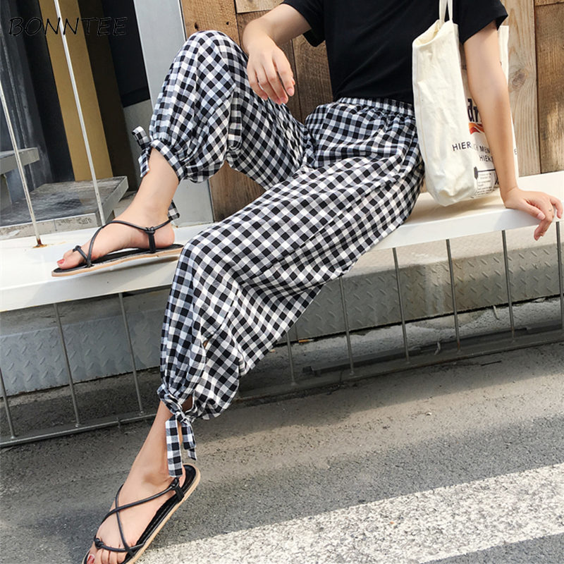 Pants   Women Chiffon Soft Fashion Female Summer Breathable Plaid Womens Retro Elegant Loose Wide Leg   Pant     Capris   Leisure Elastic