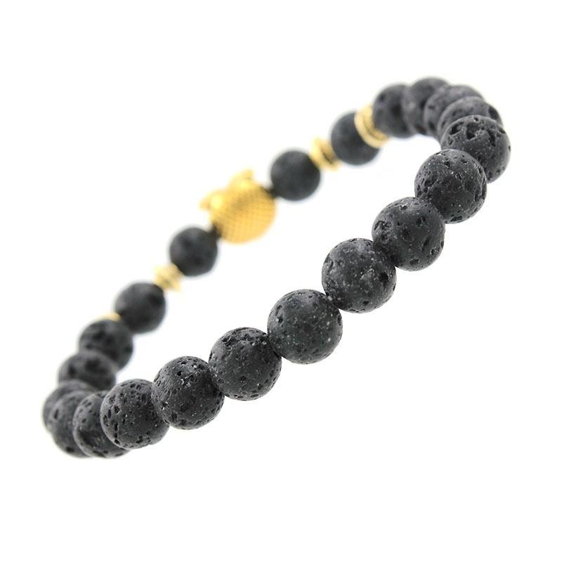 Back Of Bracelet: Natural Lava Black Stone Bracelet With Gold Owl