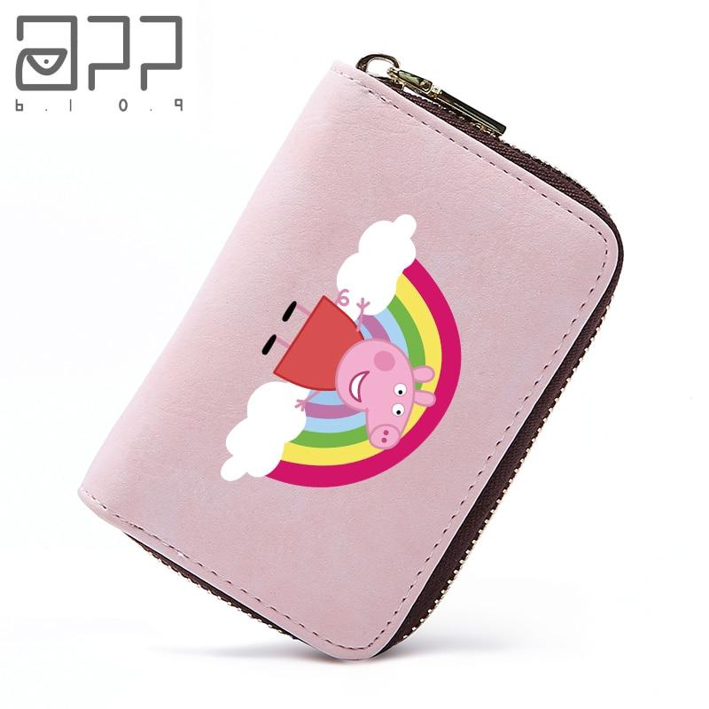 APP BLOG Peppa Pig Rainbow Pig Card Holder Wallets Small Pillow Purse Girl Kid Women Teenager Zipper Credit Card Bag Case 2018