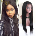 7A Straight African American Full Lace Human Hair Wigs Best Glueless Brazilian Virgin Straight Lace Front Wigs With Baby Hair