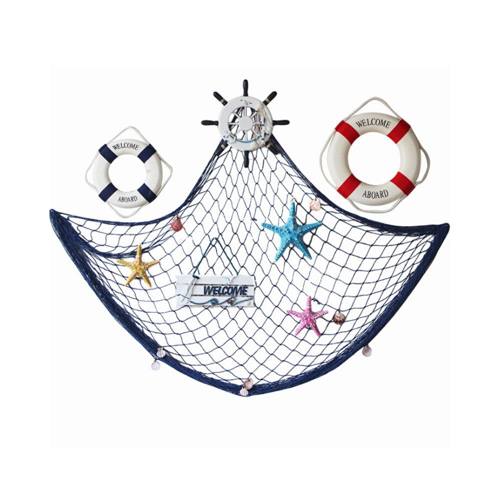 Mediterranean Marine Style 3D Hanging Fishing Net Pendant Mesh Home Decor DIY Craft Wall Hanging Decoration Ornament Props