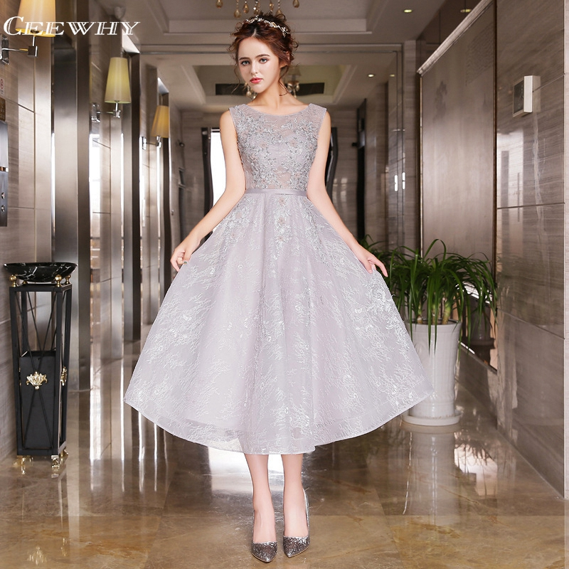 CEEWHY Candy Color Embroidery Beading Lace Evening Dress Tea-Length Evening Gowns Wedding Party Prom Press 2017 Robe de Soiree