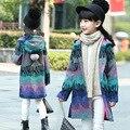 Девочка тренч Шерстяное пальто для девушки длинные Зимнее Пальто капюшоном и Куртки толстые Кашемировые Дети Верхняя Одежда девушки Ветровка мяч