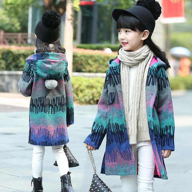 Baby girl trench Wool coat for girls long Winter Coats hood and Jackets thick Cashmere Children Outerwear girls Windbreaker ball