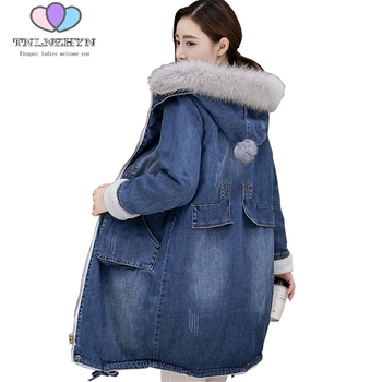 Denim Cotton Clothing Female New Winter Jacket Women Plus size Plus velvet Thick Fur collar Jacket Coat Hooded Warm Cowboy Coats