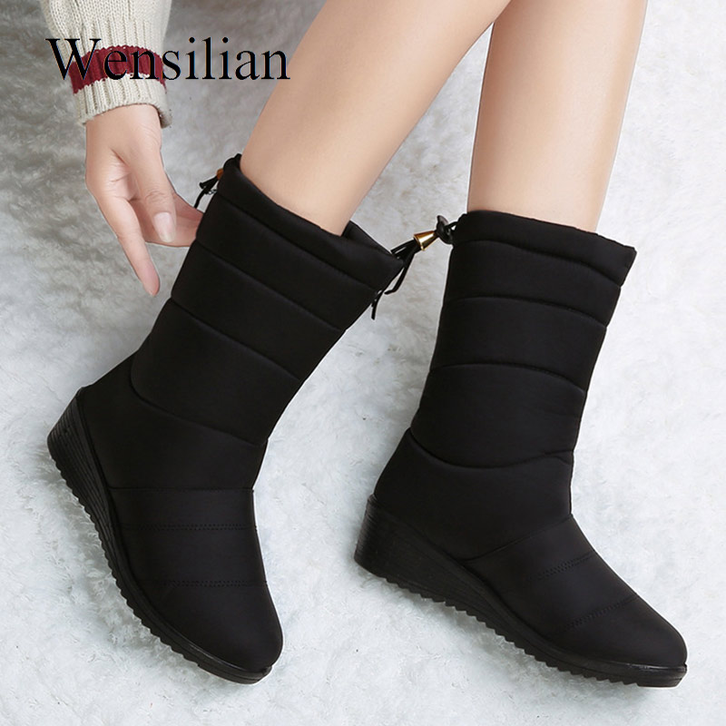 Snow Winter Boots Women Mid-Calf Boots Waterproof Round Toe bottines femme Insoles Ladies Shoes Woman Fringe Down Botas Mujer snow winter boots women ankle boots lace up bottines femme platform shoes woman warm female round toe suede flock botas mujer