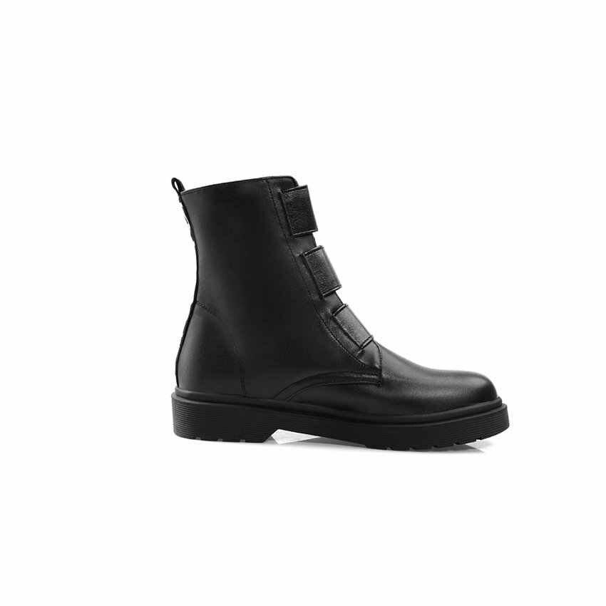 ESVEVA 2020 Kadın Ayakkabı Kış yarım çizmeler Akın Kare Düşük Topuk Kanca ve Döngü Motosiklet Moda Platform Çizmeler Boyutu 34- 43