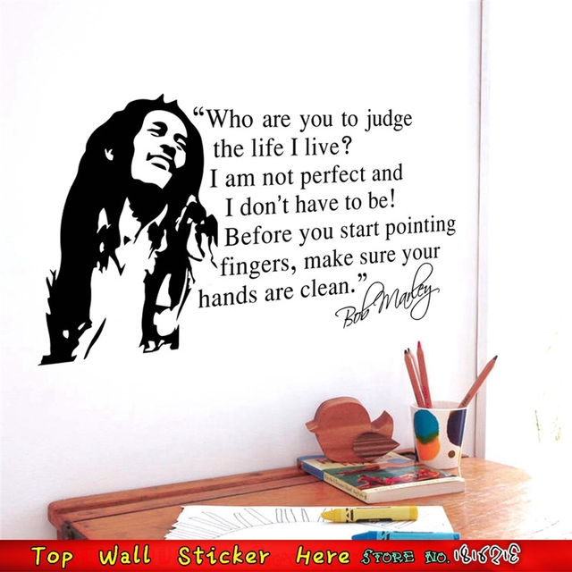 Large Famous Music Star Bob Marley Wall Sticker Vinyl Mural Art Quotes Poster Decals Home