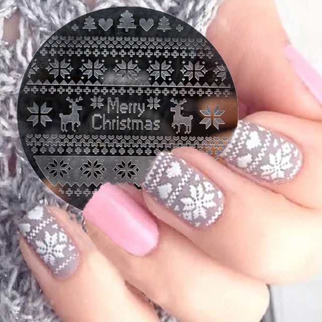 1pc Christmas Nail Art Alphabet Snowflake Deer Lace Flower Design