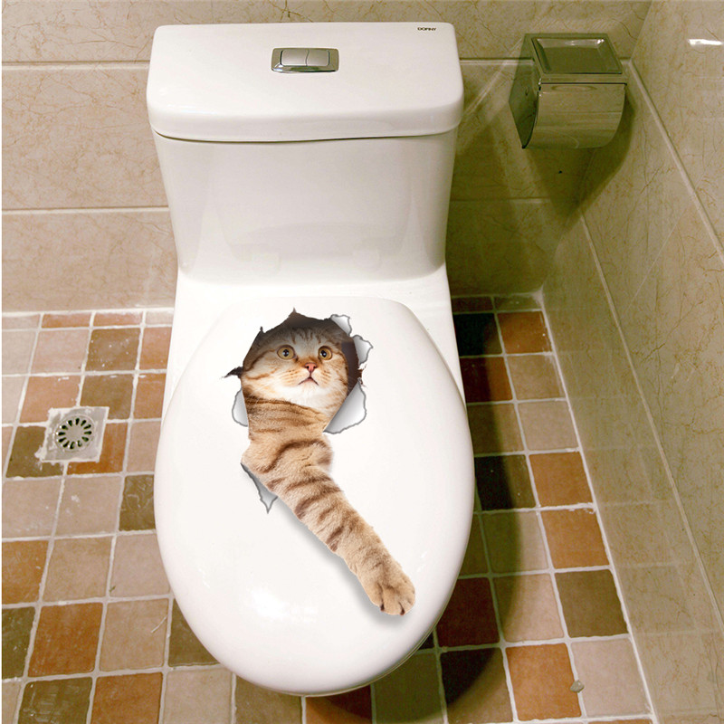 3d Cats Wall Sticker Toilet Stickers Hole View Vivid Dogs