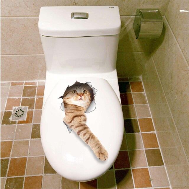 Online Shop 3D Katten Muursticker Wc Stickers Gat View Vivid ...