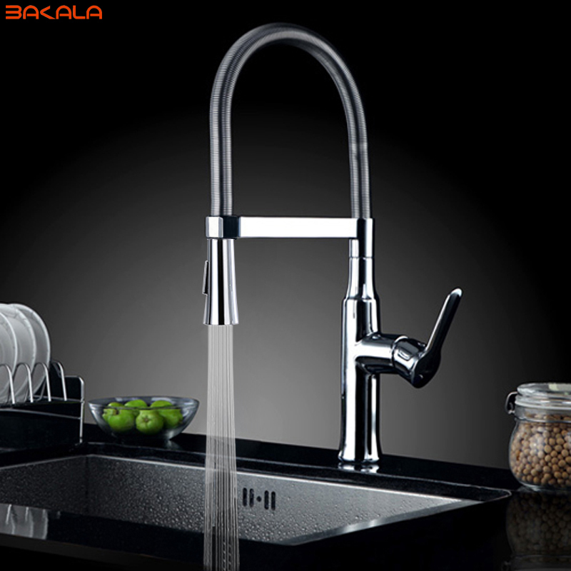 BAKALA torneira cozinha kitchen faucets hot and cold water chrome basin sink square cozinha taps mixers