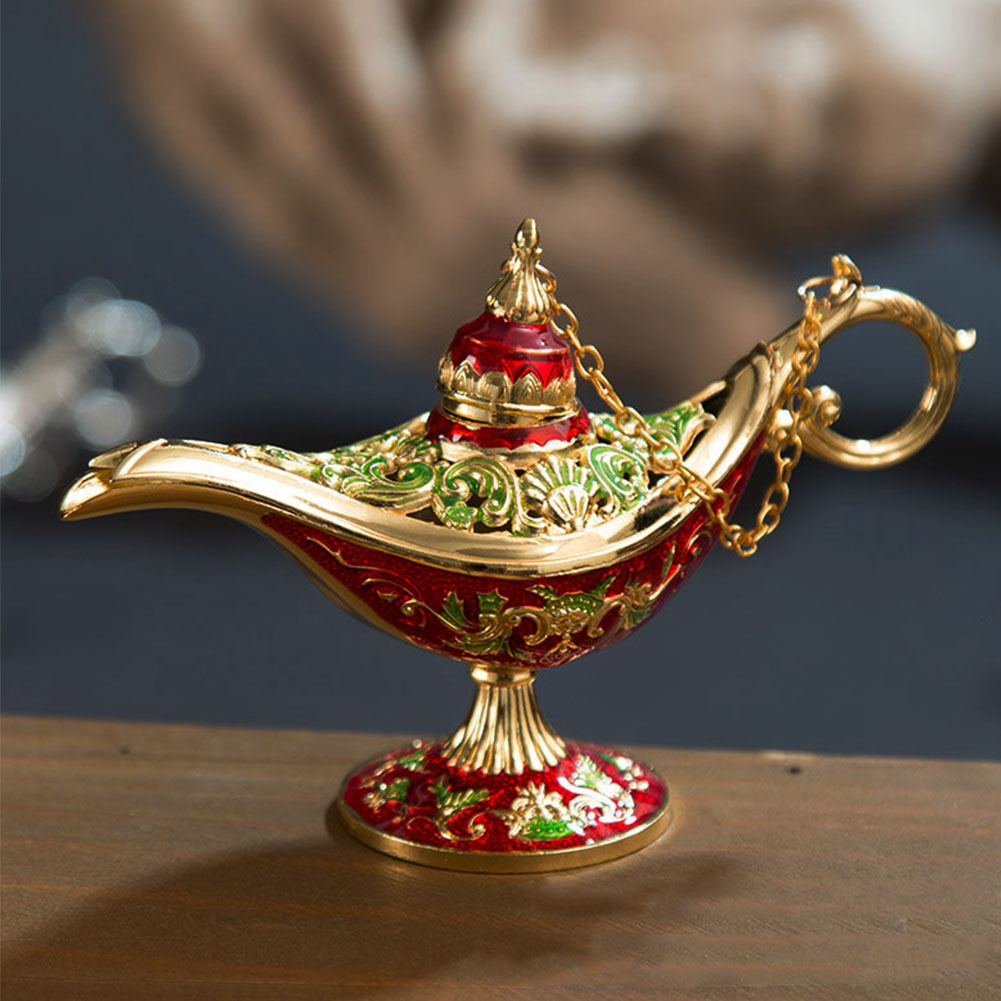 Tea Pot Traditional Gift Arts Vintage Oil Decor Home Crafts Ornaments Zinc Alloy Carved Aladdin Lamp Incense Burner Retro