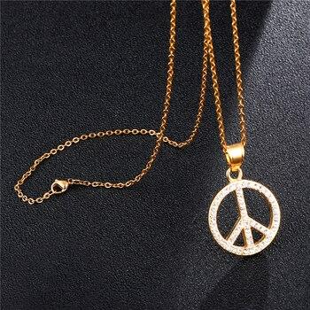 78a15036c267 D   Z Color plata oro signo de la paz colgante collar Hip Hop Bling cristal  símbolo de la paz