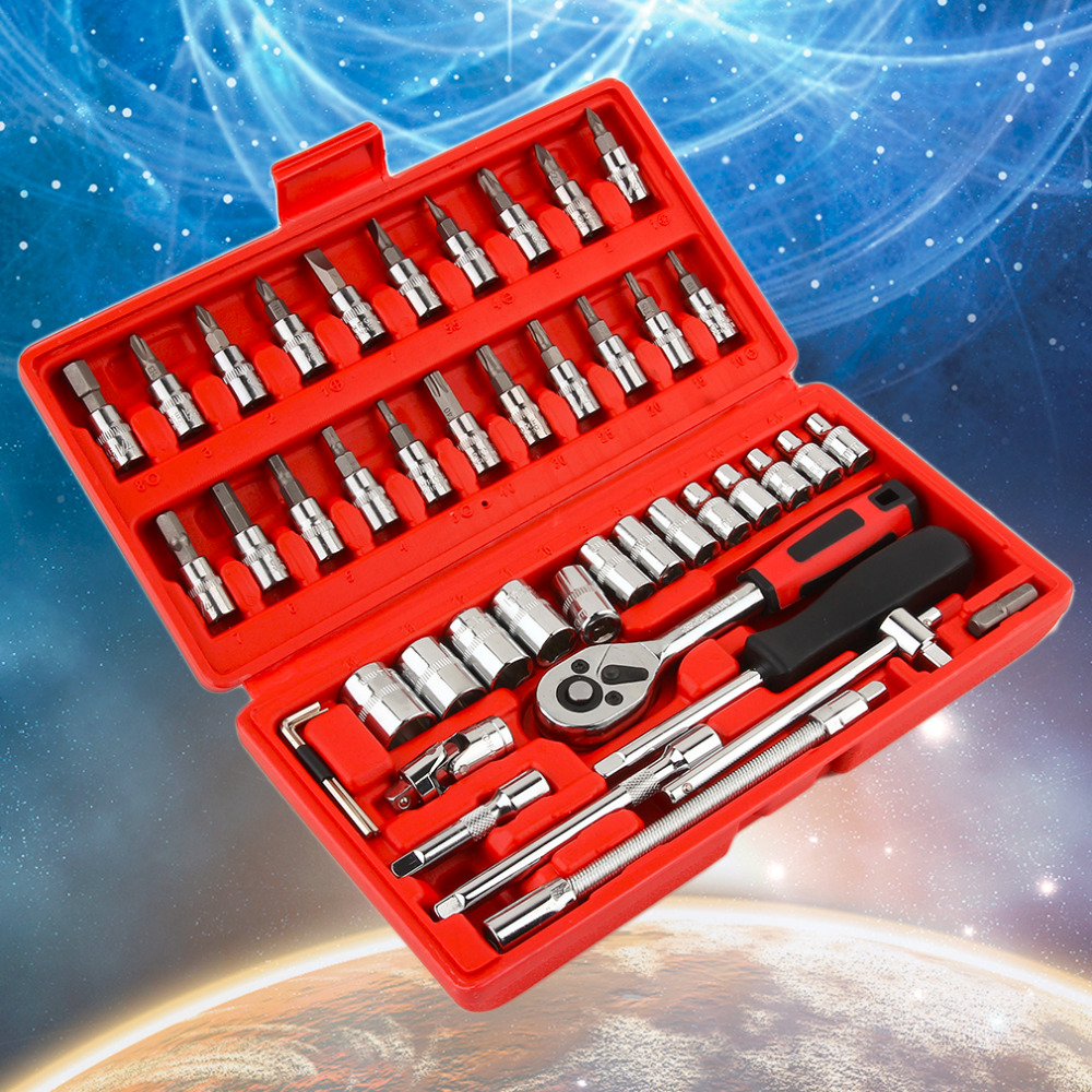 NEW 46Pcs Car Repair Tool Sets Combination Tool Wrench Set Batch Head Pawl Socket Spanner Screwdriver Head Set Socket Set 46pcs set carbon steel combination tool set wrench batch head ratchet pawl socket spanner screwdriver household car repair tool