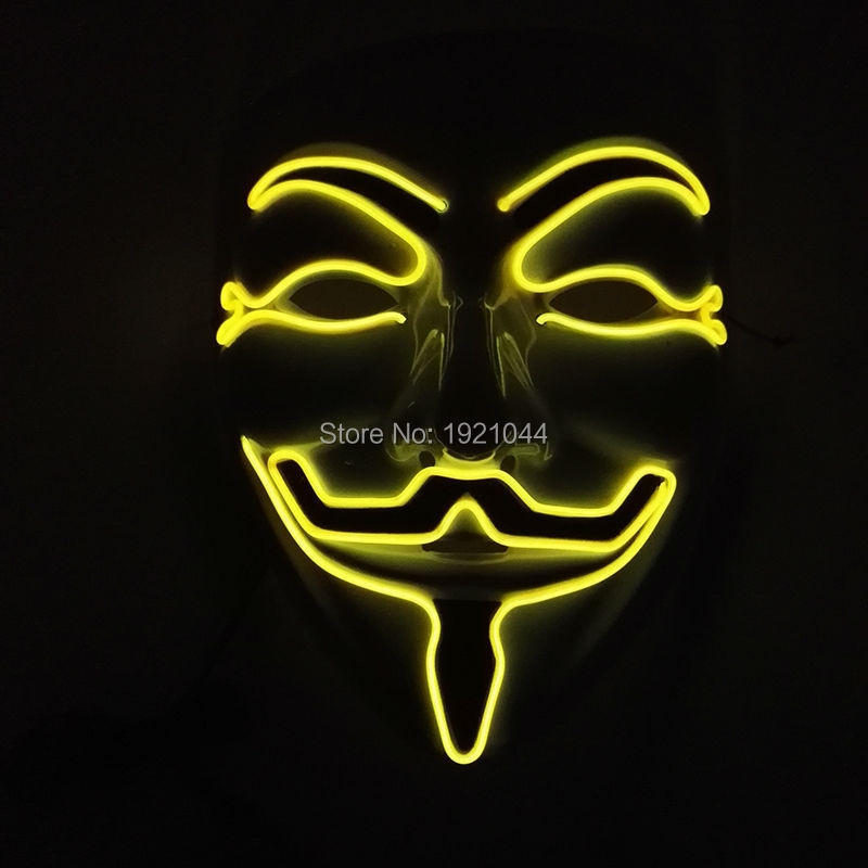 2017 New Style Yellow 10 Color Choice Cosplay Male V for Vendetta Flash El Wire Led Glowing Party Mask 3V Sound Active driver