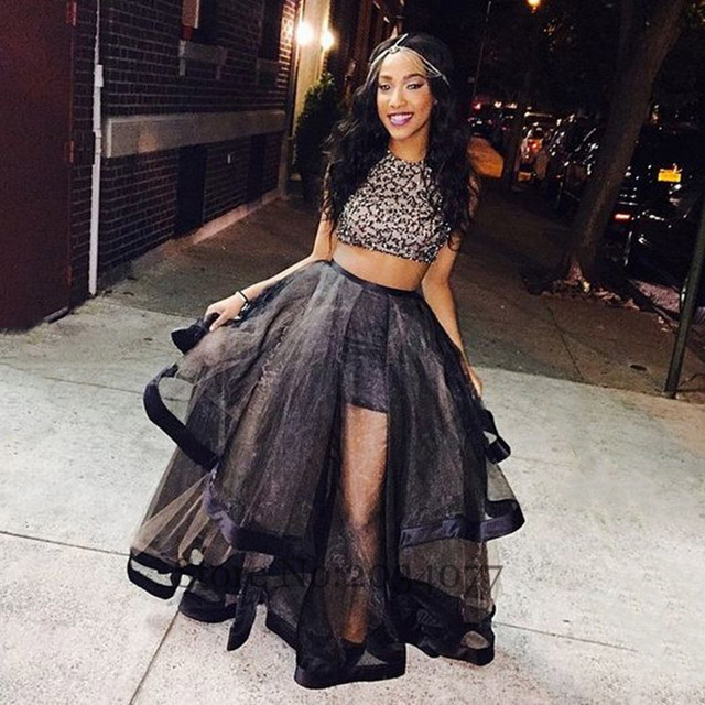 43af0705bb1 Vintage African 2 piece Prom Dresses Black Rhinestones Beads Organza O-Neck  Fast Shipping Party Gowns Vestidos de graduacion