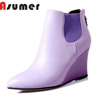 ASUMER NEW ARRIVE 2018 solid elastic band ankle boots for women zip high heels boots winter pointed toe genuine leather boots