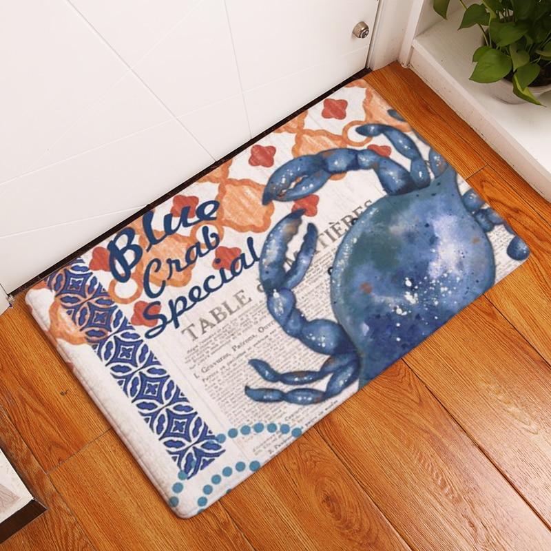 Homing Waterproof Light Thin Soft Doormat Outdoor Vintage Seaside Funny Crab Character Words Pattern Anti Slip Kitchen Floor Mat