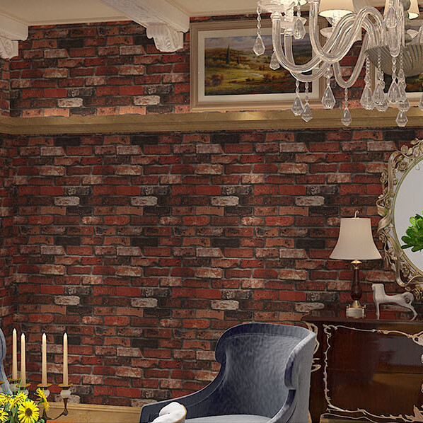 Geprägte 3D Mauer Papier Moderne Vintage Ziegel Stein Muster Tapetenbahn Für  Wohnzimmer Rot Wandverkleidung Decor