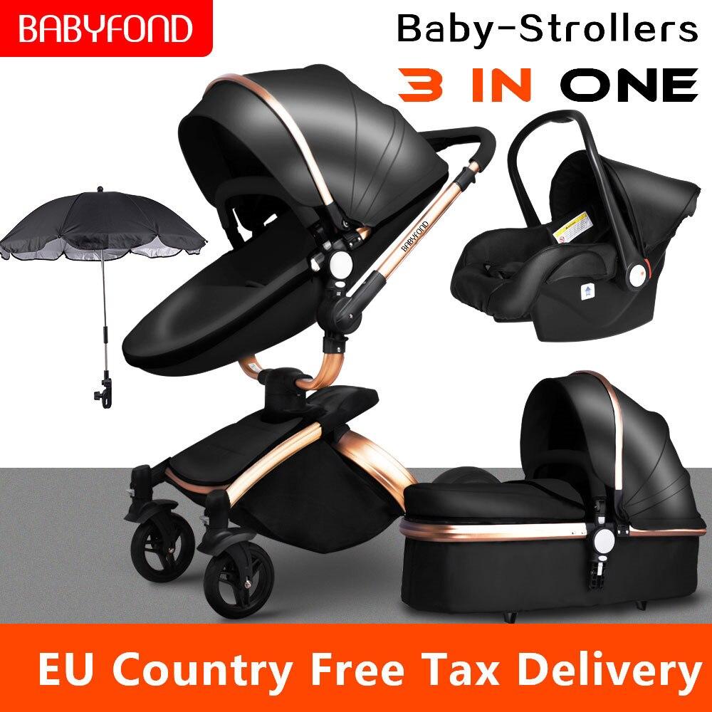 Multi-functional Luxury Baby Stroller 4 In 1 High Landscape Stroller Gold Frame PU Pram Two-way Car Seat Bassinet Newborn