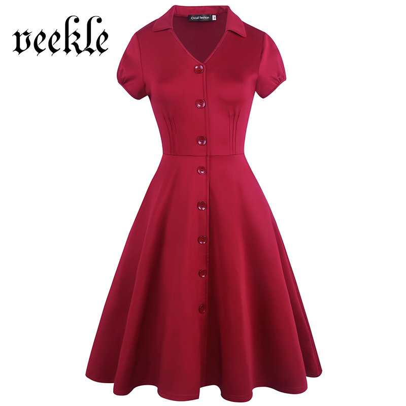 VEKLE New Women Elegant Rockabilly Mini Wide A-Line Dress Casual Solid Red Button Short Sleeve V-Neck Stand Collar Evening Party