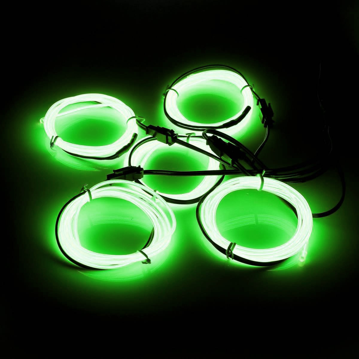 5x 1m EL Wire EL Cable Neon Lighting Luminous Cord for Christmas Party Rave Parties Halloween Costume + Battery Box 6 Color