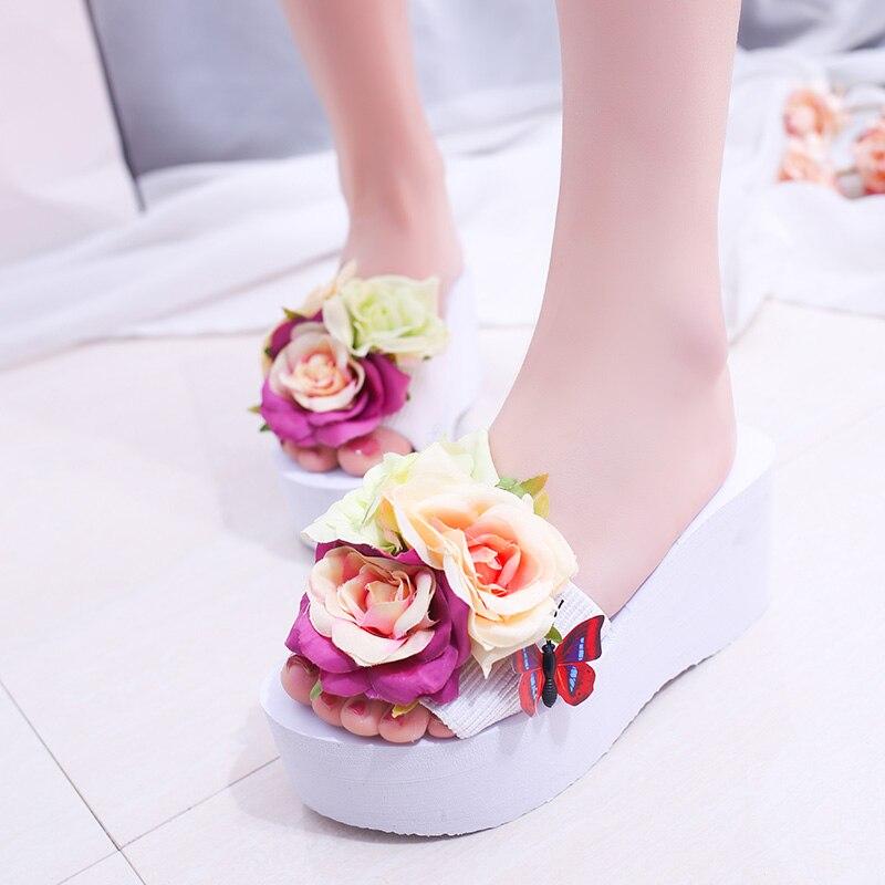 2018 Sommer Schuhe Plattform Keile Hausschuhe Frau Blumen Flip-flops Frauen Strand Schuhe Slides Sandalen Süße Zapatos Mujer 62h94 100% Garantie