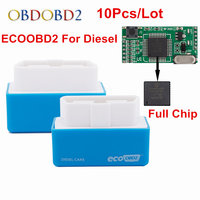 10 Unids/lote fácil de Usar Caja de Adaptación de la Viruta OBD2 Economía Eco 15% Ahorro de combustible Baja Emisión EcoOBD2 Azul Para Diesel Carsa Mantener Remapeo