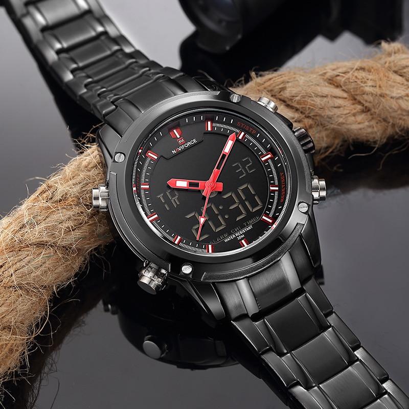 Top Luxury Brand NAVIFORCE Men Military Wodoodporny LED Zegarki - Męskie zegarki - Zdjęcie 4