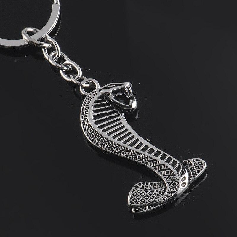 1pcs car logo keyring keychain key chain ring for ford mustang shelby gt cobra snake chaveiro