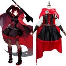 RWBY 3 Temporada Battler traje Ruby Rose Cosplay adulto mujeres niñas  vestido traje uniforme traje de Carnaval de Halloween por . 33faf2faef29